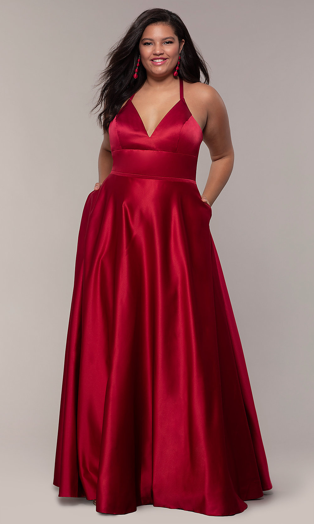 Plus Size Long Satin Prom Dress With Corset Back