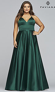 Image of plus-size long satin prom dress with corset back. Style: FA-9466 Detail Image 5