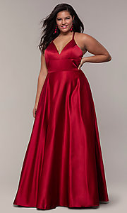 Image of plus-size long satin prom dress with corset back. Style: FA-9466 Front Image