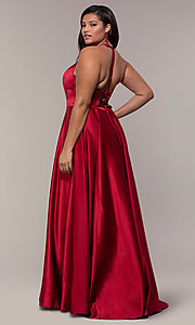 Image of plus-size long satin prom dress with corset back. Style: FA-9466 Back Image