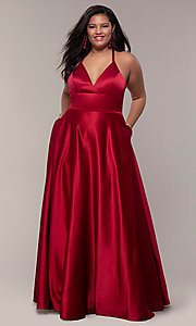 Image of plus-size long satin prom dress with corset back. Style: FA-9466 Detail Image 3