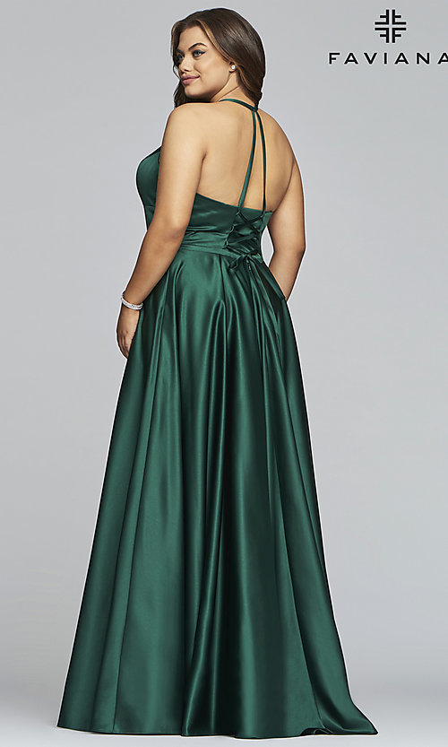 Image of plus-size long satin prom dress with corset back. Style: FA-9466 Detail Image 4