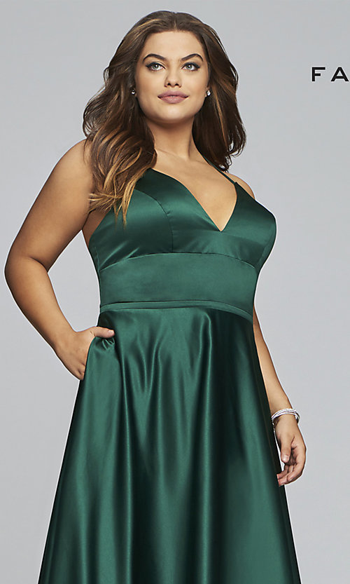Image of plus-size long satin prom dress with corset back. Style: FA-9466 Detail Image 6