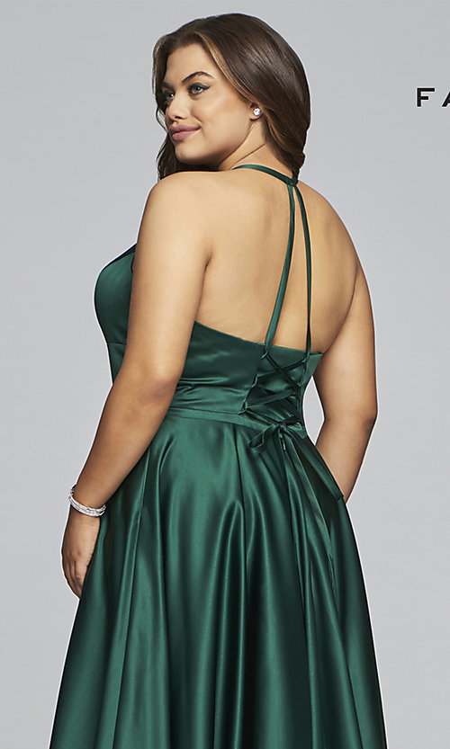 Image of plus-size long satin prom dress with corset back. Style: FA-9466 Detail Image 7