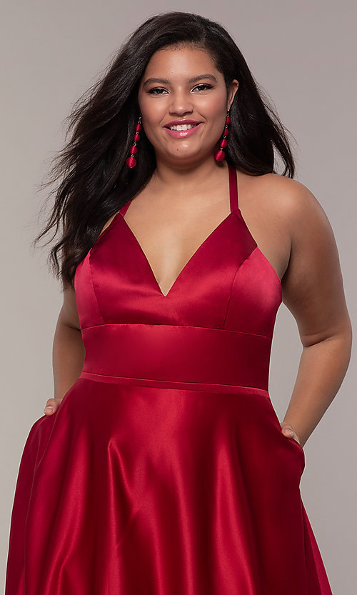 Image of plus-size long satin prom dress with corset back. Style: FA-9466 Detail Image 1