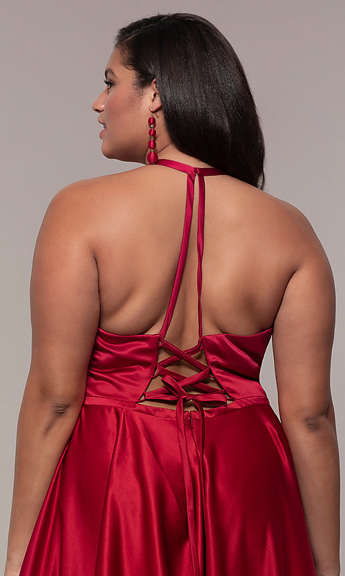 Image of plus-size long satin prom dress with corset back. Style: FA-9466 Detail Image 2