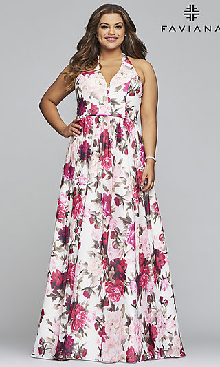Plus-Size V-Neck Chiffon Print Prom Dress