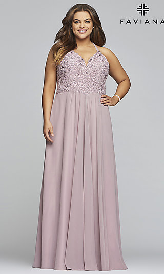 Long V-Neck Plus Prom Dress with Embroidery
