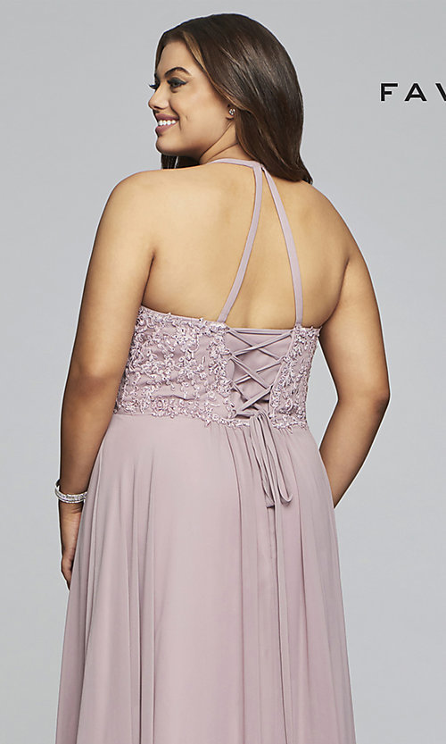 Image of Faviana long mauve plus-size formal prom dress. Style: FA-9445 Detail Image 2