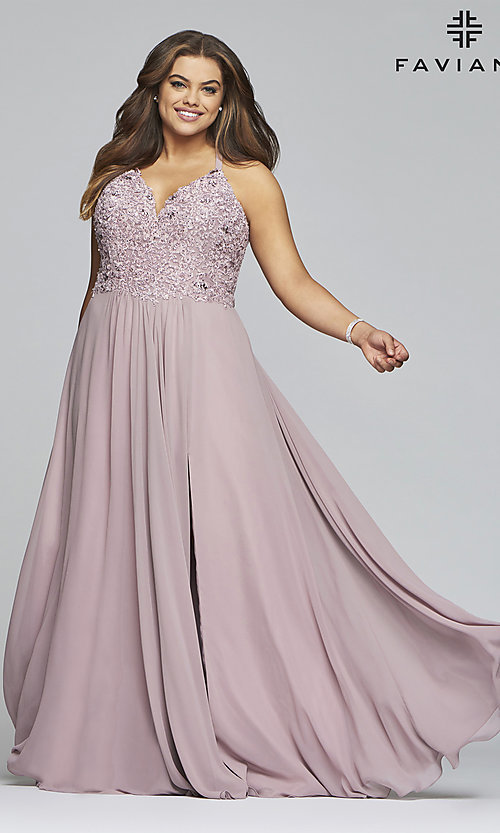 Image of Faviana long mauve plus-size formal prom dress. Style: FA-9445 Detail Image 3