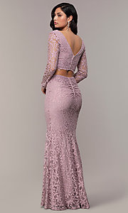 Image of two-piece long formal lace mermaid gown. Style: LP-PL-90044-1 Back Image
