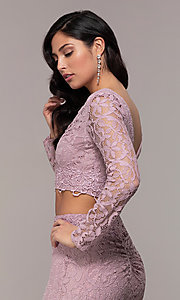 Image of two-piece long formal lace mermaid gown. Style: LP-PL-90044-1 Detail Image 1