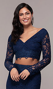 Image of two-piece long formal lace mermaid gown. Style: LP-PL-90044-1 Detail Image 5