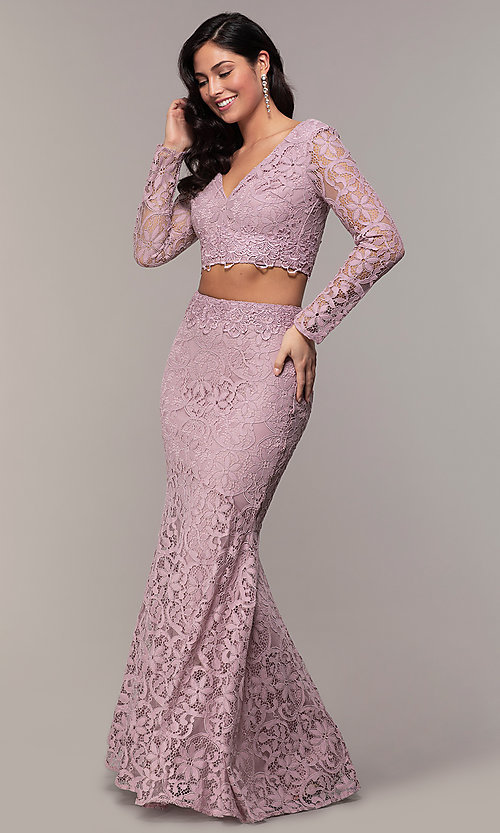 Image of two-piece long formal lace mermaid gown. Style: LP-PL-90044-1 Front Image