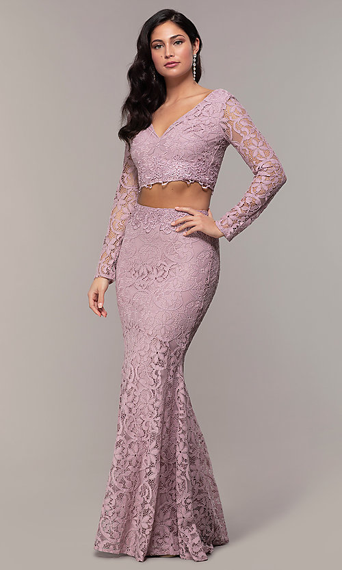 Image of two-piece long formal lace mermaid gown. Style: LP-PL-90044-1 Detail Image 2