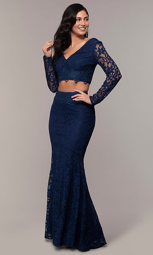 Image of two-piece long formal lace mermaid gown. Style: LP-PL-90044-1 Detail Image 3