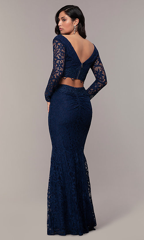 Image of two-piece long formal lace mermaid gown. Style: LP-PL-90044-1 Detail Image 4