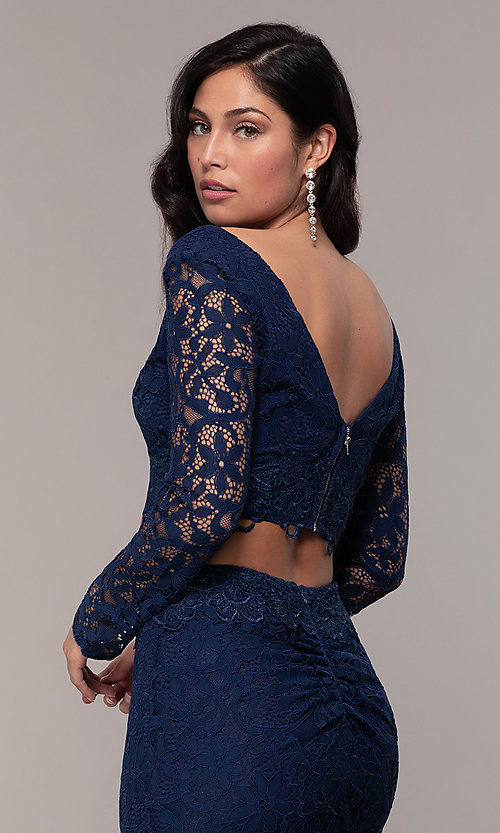 Image of two-piece long formal lace mermaid gown. Style: LP-PL-90044-1 Detail Image 6