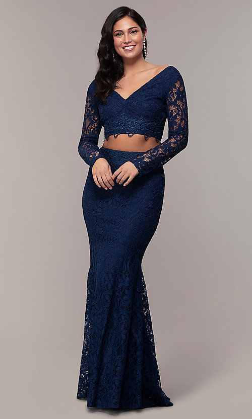 Image of two-piece long formal lace mermaid gown. Style: LP-PL-90044-1 Detail Image 7