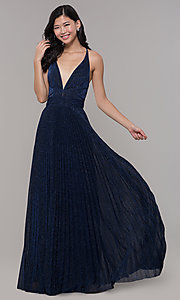 Image of navy blue long glitter prom dress with pleated skirt. Style: LP-PL-25801 Front Image