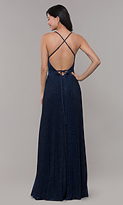 Image of navy blue long glitter prom dress with pleated skirt. Style: LP-PL-25801 Back Image