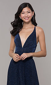 Image of navy blue long glitter prom dress with pleated skirt. Style: LP-PL-25801 Detail Image 1