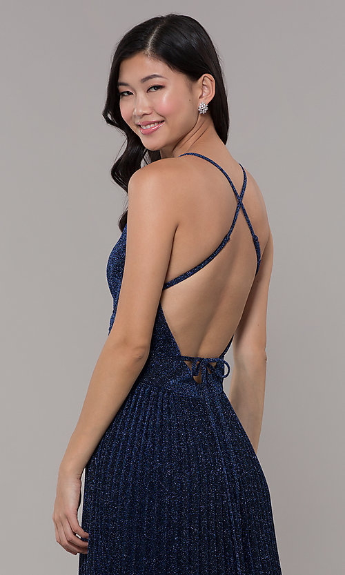 Image of navy blue long glitter prom dress with pleated skirt. Style: LP-PL-25801 Detail Image 2