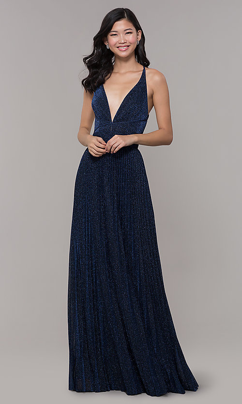 Image of navy blue long glitter prom dress with pleated skirt. Style: LP-PL-25801 Detail Image 3