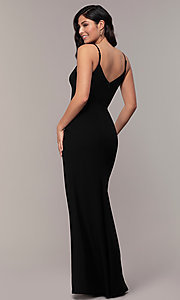 Image of long side-slit v-neck formal dress by Simply. Style: LP-SD-27861 Back Image