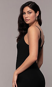 Image of long side-slit v-neck formal dress by Simply. Style: LP-SD-27861 Detail Image 2