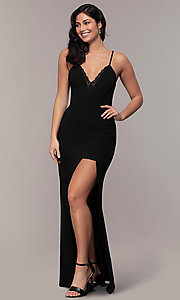 Image of long side-slit v-neck formal dress by Simply. Style: LP-SD-27861 Front Image