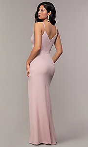 Image of long side-slit v-neck formal dress by Simply. Style: LP-SD-27861 Detail Image 5