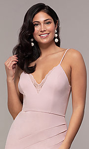 Image of long side-slit v-neck formal dress by Simply. Style: LP-SD-27861 Detail Image 6
