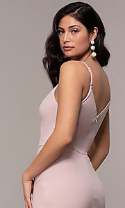 Image of long side-slit v-neck formal dress by Simply. Style: LP-SD-27861 Detail Image 7