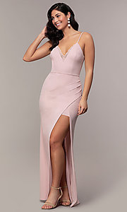 Image of long side-slit v-neck formal dress by Simply. Style: LP-SD-27861 Detail Image 4