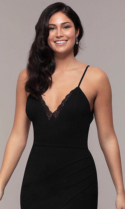 Image of long side-slit v-neck formal dress by Simply. Style: LP-SD-27861 Detail Image 1