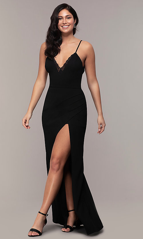 Image of long side-slit v-neck formal dress by Simply. Style: LP-SD-27861 Detail Image 3