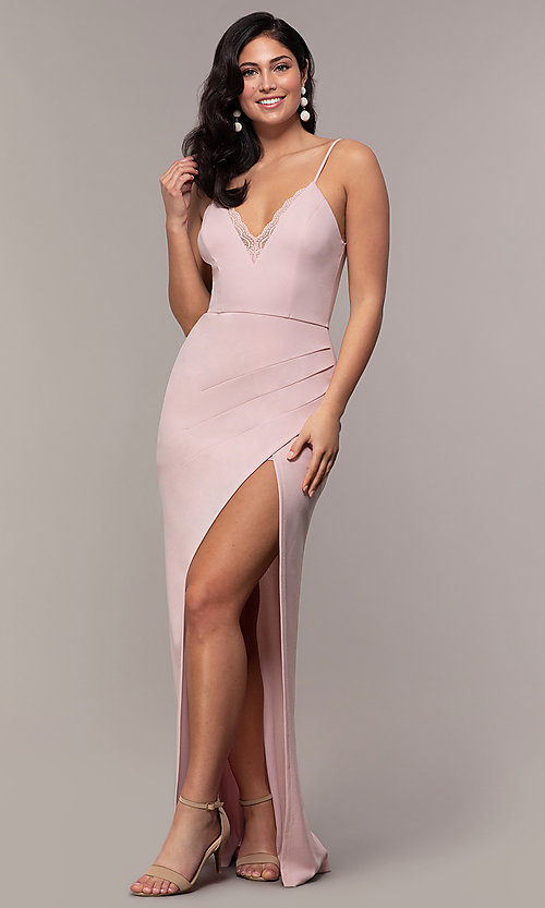 Image of long side-slit v-neck formal dress by Simply. Style: LP-SD-27861 Detail Image 8