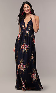 Image of v-neck long floral-print formal dress by Simply. Style: LP-SD-MG20031 Detail Image 1
