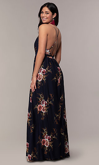 V-Neck Long Floral-Print Formal Dress by Simply