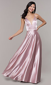 Image of open-back long formal satin dress by Simply. Style: LP-SD-27924 Detail Image 8