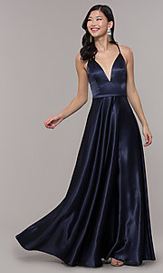 Image of open-back long formal satin dress by Simply. Style: LP-SD-27924 Detail Image 1
