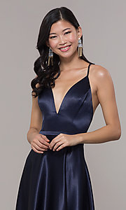 Image of open-back long formal satin dress by Simply. Style: LP-SD-27924 Detail Image 2