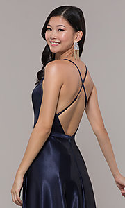 Image of open-back long formal satin dress by Simply. Style: LP-SD-27924 Detail Image 3