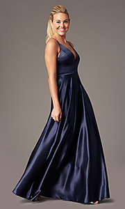 Image of open-back long formal satin dress by Simply. Style: LP-SD-27924 Front Image