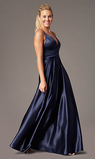 Open-Back Long Formal Satin Dress by Simply