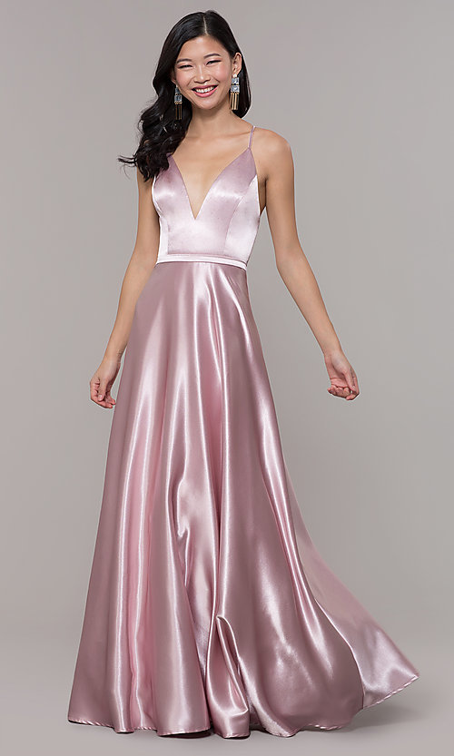 Image of open-back long formal satin dress by Simply. Style: LP-SD-27924 Detail Image 4
