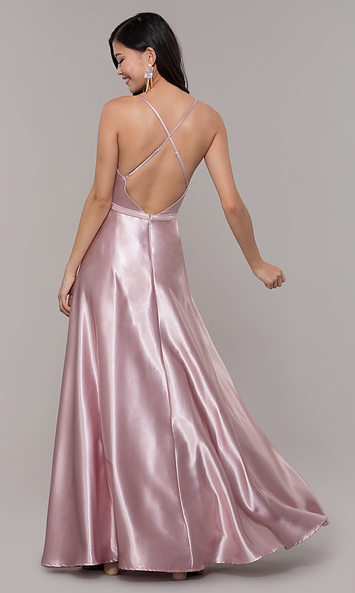 Image of open-back long formal satin dress by Simply. Style: LP-SD-27924 Detail Image 5