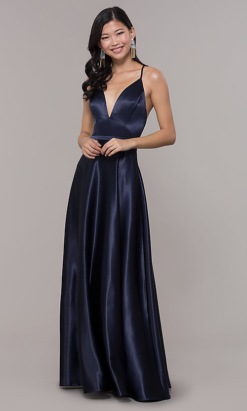 fb41c2629c35 Image of open-back long formal satin dress by Simply. Style: LP-