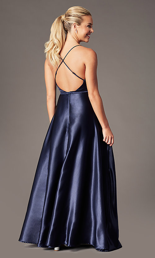 Image of open-back long formal satin dress by Simply. Style: LP-SD-27924 Back Image